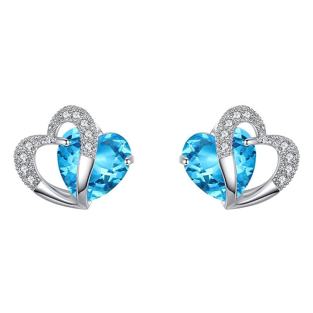 段落擬人化爬虫類Nicircle ブルーハートスタッドピアスホワイトゴールドハートスタッドピアスジュエリー ブルー Women Blue Heart Stud Earrings White Gold Heart Stud Earrings Jewelry