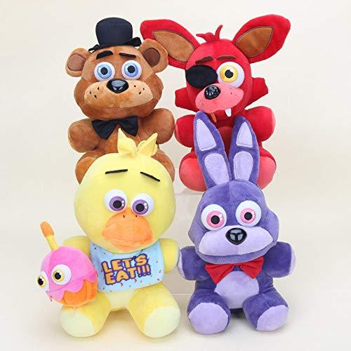 JMUNG 4Pcs / Set FNAF Nightmare Freddy Bear Foxy Springtrap Bonnie Peluches 25Cm, Five Nights At Freddy'S Toy Juguetes De Peluche Suaves Animal Anime Dolls