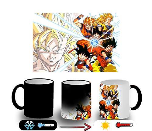 MERCHANDMANIA Taza MÁGICA Son Goku Formas Combate Magic mug