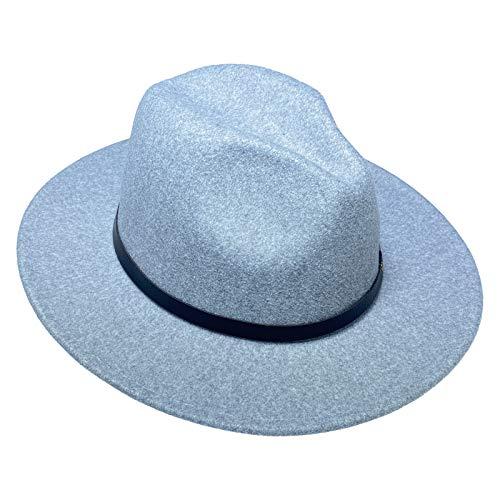 Jixin4you Sombrero Fedora de lana de ala ancha para mujer con hebilla de cinturn extrable Panam Trilby Safari Sombreros para espectculo fiesta playa