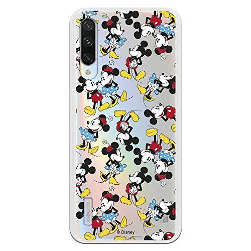 Funda para Xiaomi Mi A3 Oficial de Clásicos Disney Mickey y Minnie Siluetas Transparente para Proteger tu móvil. Carcasa para Xiaomi de...