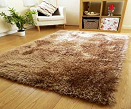 Zeff Furnishing Polyester Anti Slip Shaggy Fluffy Fur Rugs and Carpet for Living Room, Bedroom (Gold, 5x7 feet)