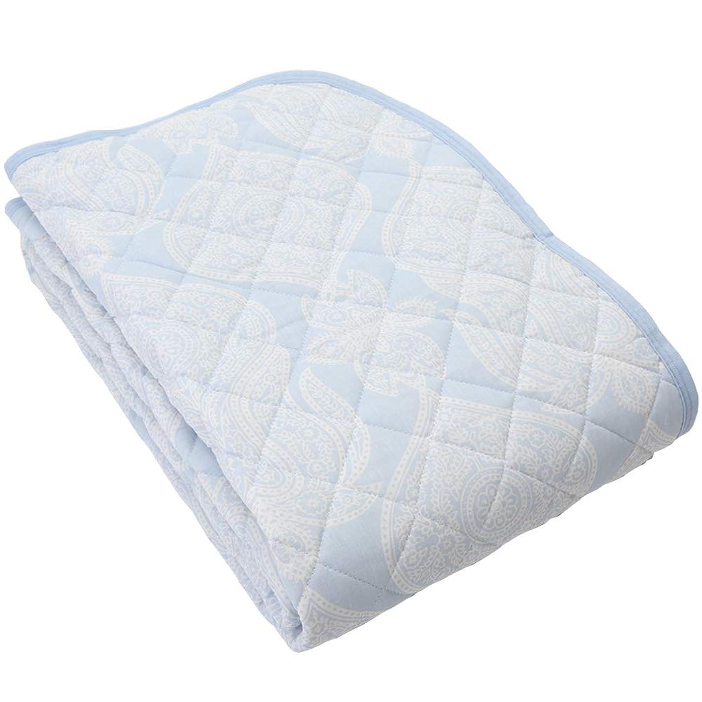 連想降下攻撃的昭和西川 2重 ガーゼ 敷きパッド 洗える パッドシーツ シングル 100×205cm 直販限定商品 バロール (ブルー)