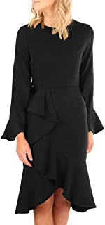 Women's Dress Bell Sleeve Crew Neck Irregular Bodycon Dress (Color : Black, Size : S)
