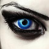 Lenti a contatto spaventosi blu elfo, senza diottrie Utilizzabile per 1 anno, Contenuto di acqua del 38% Due lenti a contatto colorate blu per halloween elfo vampiro costume + custodia per lenti gratis Perfetto per completare il tuo costume / trucco ...
