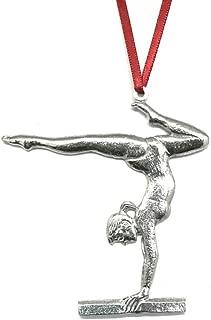 586 Gymnastic Balance Beam Acrobatics Holiday Christmas Ornament Pewter