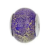 GlassOfVenice - Abalorio de cristal de Murano, plata de ley, diseño de Ca D'Oro, color azul