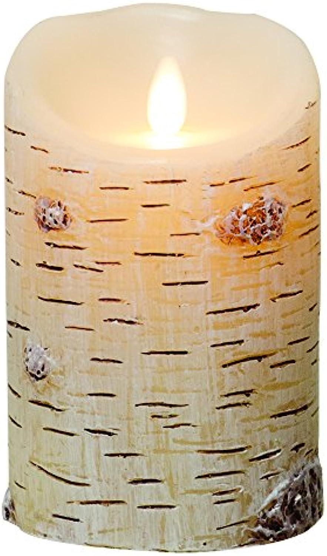 Luminara LED-Stumpenkerze, Birke, strukturiert, 12,7 cm, Rinde