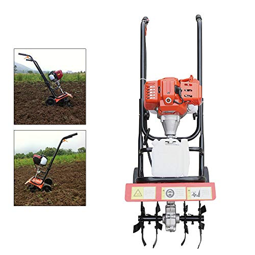 DYRABREST Hand-Pull Mini Tiller Cultivator, 52CC 2 Stroke Gasoline Power Garden Recoil Soil Ripper Tiller Cultivator for Soil Digging, Weed Removal, Soil Cultivation (US Stock)