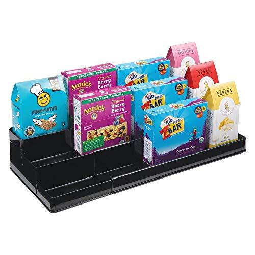 mDesign Especiero para Armario de Cocina o encimera – Estante Extensible para almacenar condimentos y ordenar la Cocina – Organizador de Especias en plástico con Tres Niveles – Blanco