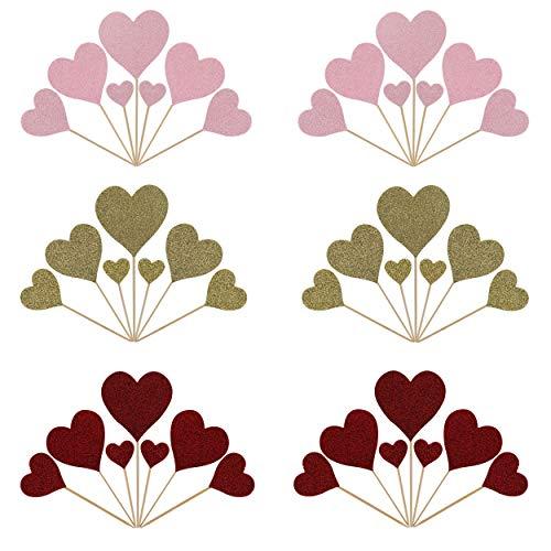 Kuchen Toppers Glitzerndes Herz Cupcake Toppers, 42 Stücke Handgefertigte Kuchenaufsätze Dekoration Liefert für Babyparty Geburtstag Hochzeiten Party