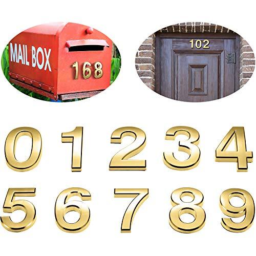 20 Stück 2 Zoll Mailbox Nummer 0-9 Adresse Nummern Selbstklebend Tür Nummer Reflektierend Mailbox Nummer für Haus Mailbox (Gold)
