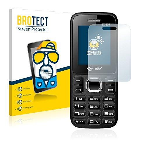 BROTECT 2X Entspiegelungs-Schutzfolie kompatibel mit Simvalley Mobile SX-305 Bildschirmschutz-Folie Matt, Anti-Reflex, Anti-Fingerprint