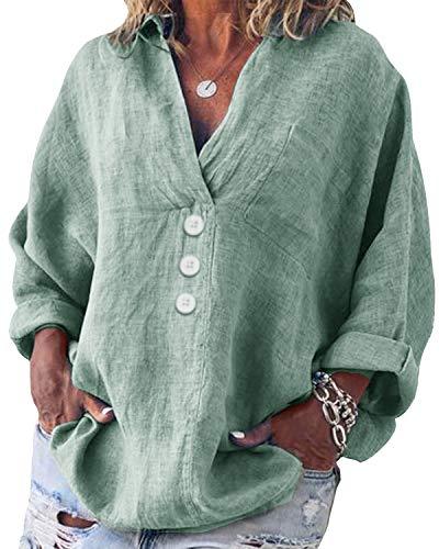 Yidarton Bluse Damen Langarm Oberteil Casual V-Ausschnitt Tops Tunika Lose Baumwolle Große Größen Hemd Leinenbluse (Grün, 5XL=(EU 48-50))