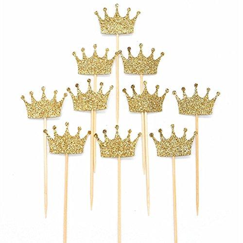 OUNONA Cupcake Topper Decorazione Torta Topper Stuzzicadenti Cocktail Topper Corona Glitter Oro 20 Pezzi