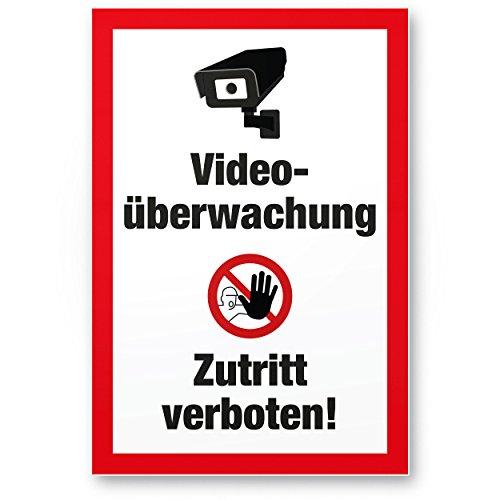 Komma Security Videoüberwachung Zutritt Verboten Kunststoff Schild - Achtung Vorsicht Videoüberwachung - Hinweis Hinweisschild Videoüberwacht - Hinweis Warnhinweis