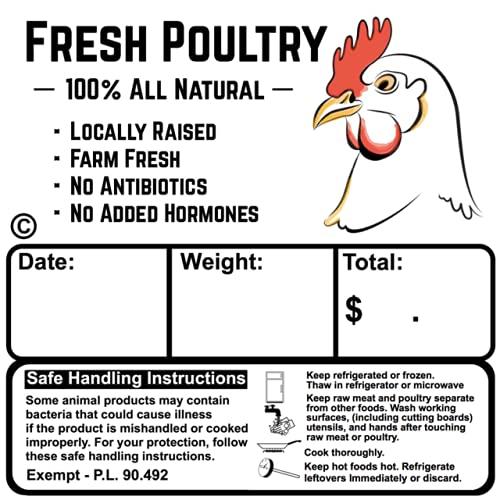 Poultry Freezer Labels (200) 3.5' x 3.5' with Safe Handling Instructions Exemption – P.L. 90-492