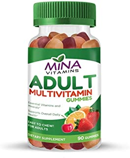 Halal Gummy Adult Multivitamins by Mina Vitamins - 11 Essential Vitamins and Minerals with Antioxidants - Vegetarian, Non-...
