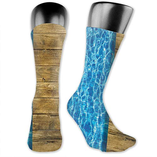DHNKW Socks Compression Medium Calf Crew Sock,Summer House Seem Swimming Pool With Wooden Seem Deck Image