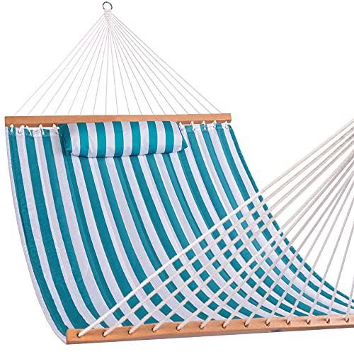 Lazy Daze Hammocks Quilted Fabric Double Hammock with Spreader Bars and Detachable Pillow, 2 Person Hammock for Outdoor Patio Backyard Poolside, 450 LBS Weight Capacity, Sailor Stripe