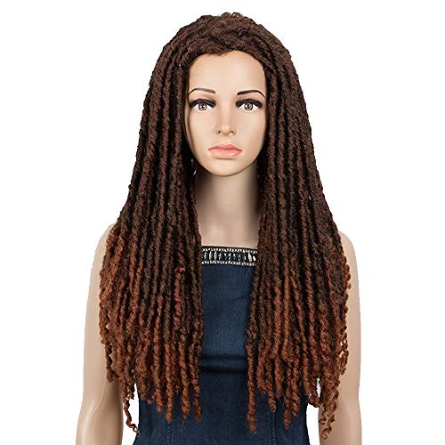 NOBLE GIRL Long Dreadlock Wigs Ombre Braided Wigs Middle Part Synthetic Faux Locs Crochet Hair Wigs for Black Women & Men (25 inch, Ombre Brown Wig)