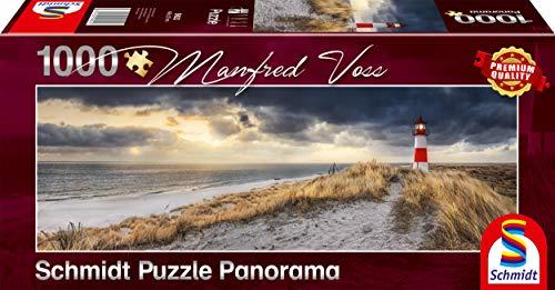 Schmidt Spiele Puzzle 59622 Manfred Voss, Leuchtturm, Sylt, 1000 Teile Panorama - Puzzle, bunt