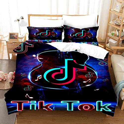 ZJJIAM Tik Tok - Juego de funda nórdica y 2 fundas de almohada, logotipo social, ropa de cama infantil, 200 x 200, diseño animado, tamaño grande (14,140 x 210 cm + (50 x 75 cm)
