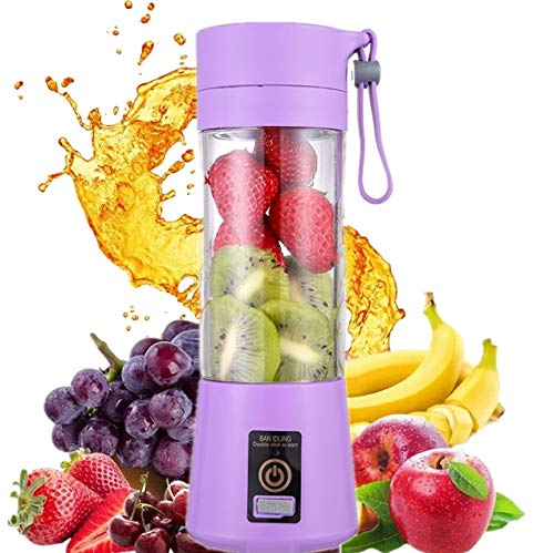 HANBO Electric Portable Juicer Blender Cup Household Fruit Mixer with Six Blades in 3D 380ml USB Rechargeable Juice Blender Magnetic Secure Switch Electric Fruit Mixer Purple