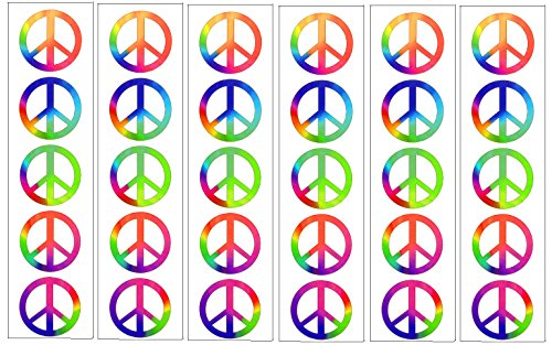 Rainbow Peace Symbol Sign Tattoos, 60's Hippie Party Favors