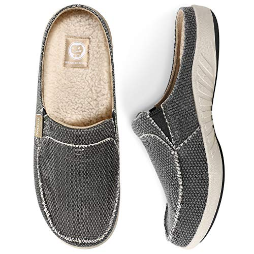 Mens Slippers with Arch Support, Canvas House Slipper for Men with Cozy Fuzzy Wool and Velvet Lining, Slip On Clog House Shoes with Indoor Outdoor Anti-Skid Rubber Sole, Black