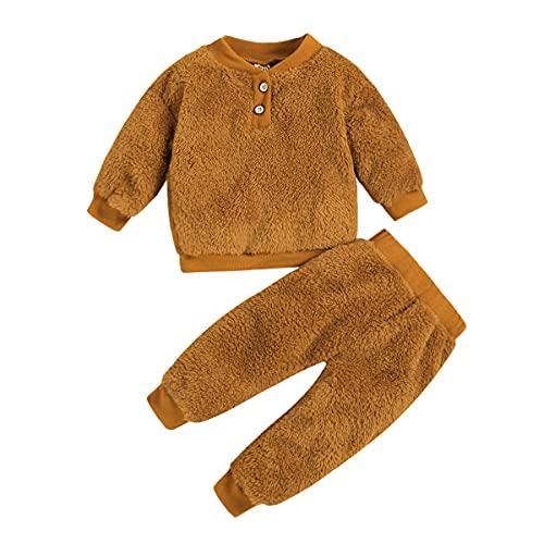 Alunsito Ropa para bebés recién nacidos, ropa de invierno cálida de manga larga, Tops de lana, pantalones sólidos, traje para niños, conjunto de 2 uds., Marrón 110 2-3 años