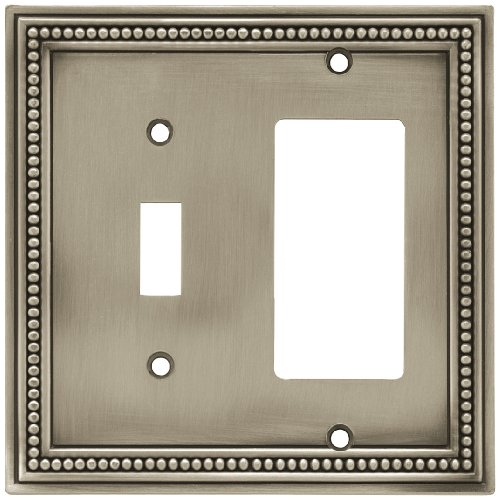 Brainerd 64740 Beaded Single Toggle Switch/Decorator Wall Plate / Switch Plate / Cover, Brushed Satin Pewter