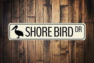 HarrodxBOX Shore Bird Dr Sign Custom Ocean Animal Drive Sign Metal Beach Street Sign Sea Lover Beach House Decor Metal Tin Signs for Home Decor Wall Post Housewarming Gift