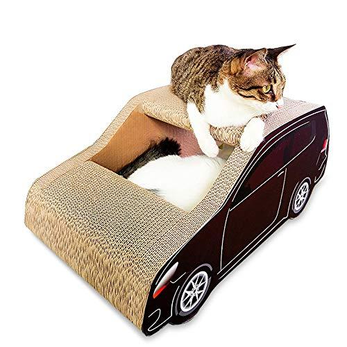 Ouqian Juguete Gato Gatos de cartón Arañazos Corrugado Gato Rascarse Junta SUV del Gato del Gato Rascador Salón cartón Ondulado Gato Rascador (Color : Marrón, Size : 60x30x26cm)