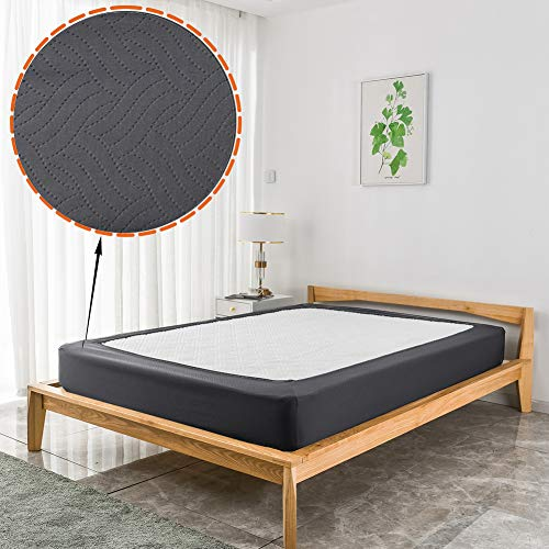 Funda para cama doble de matrimonio de 6 camas de alta calidad, con diseño de estampado de estampado, envoltura alrededor de la falda de la cama, doble o doble, XL, protector de colchón, ajuste para 10 a 12 pulgadas de altura, color gris piedra