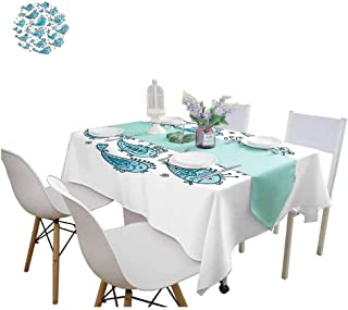 Fish Fitted tablecloths School of Fish Sketching in Round Frame with Romantic Indie Style Floral Pattern Tablecloths for Sale 70 x 120 Inch