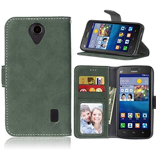 Sangrl Lederhülle Schutzhülle Für Huawei Ascend Y635, PU-Leder Klassisches Design Wallet Handyhülle, Mit Halterungsfunktion Kartenfächer Flip Hülle Grün