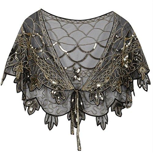 PrettyGuide Damen Stola Abendkleid Perlen Pailletten 20er Jahre Schal Bolero Gold