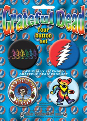 C&D Visionary Licenses Products Grateful Dead-Skeleton Assorted Artworks 1.5' Button Set, 4-Piece