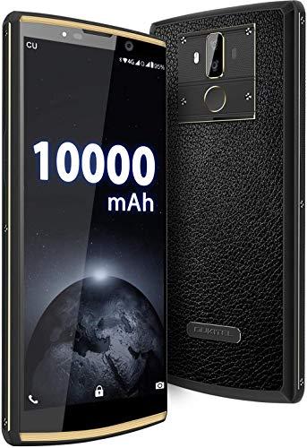 OUKITEL K7 Pro 10000mAh Smartphone ohne Vertrag, Android 9.0 4G Dual SIM Handy, Helio P23 Octa-Core 4GB + 64GB, 6 Zoll Display, 18W Fast Charge, Fingerabdruckerkennung/Face ID OTG Leder Design
