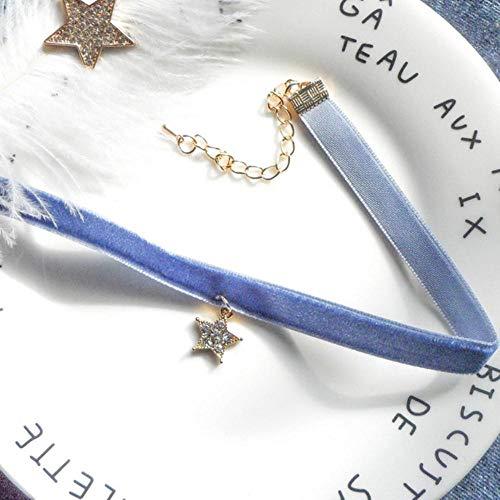 Houer Temperamento gótico Collar de Gargantilla de Terciopelo de Encaje Azul Mujeres Collar de clavícula Corto Collares Chocker Joyas Regalos, Estrella