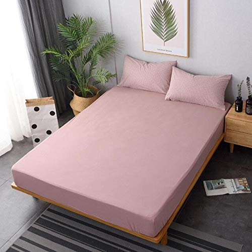 QZXCD Fitted sheetsSolid Colour Fitted Sheet 100% Cotton Mattress Cover High 25cm+2...