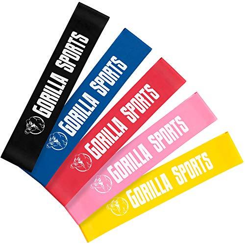 GORILLA SPORTS® Fitnessbänder 0,4-1,2 mm Latex Set – Gymnastik-Band Loop in 5 Farb- und Stärkevarianten