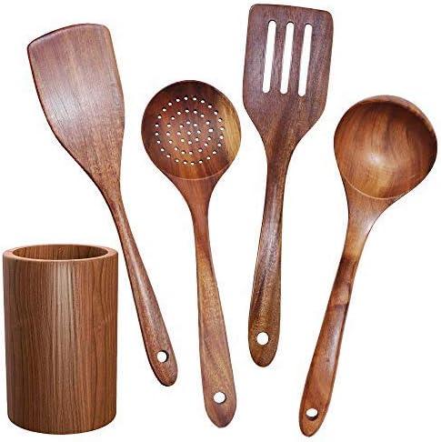 GEEKHOM Wooden Utensils Large Teak Kitchen National uniform Outlet SALE free shipping Cooking Utensil Wood