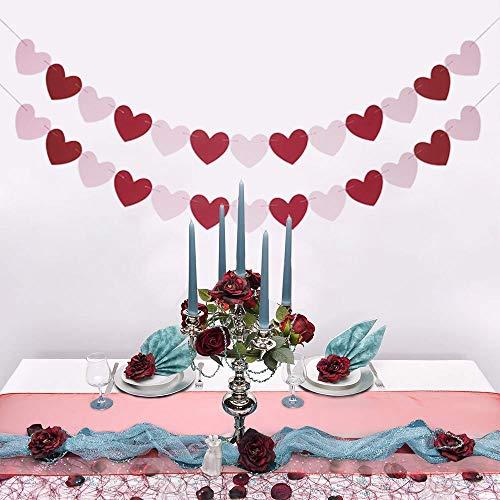 Heart Garland Banner NO DIY Valentines Day Banner Decor Valentines Decorations (red+Pink)