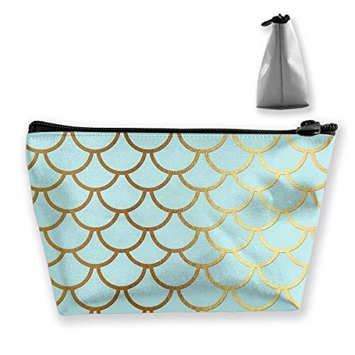 Trapèze Sac cosmétique Sac de Rangement Gradient Turquoise Mermaid Scale avec Golden Glitter Zipper Multifonctionnel Accory Wallet Storage Bag Travel Shopping en Plein air Coin Wallet Organizer Gift