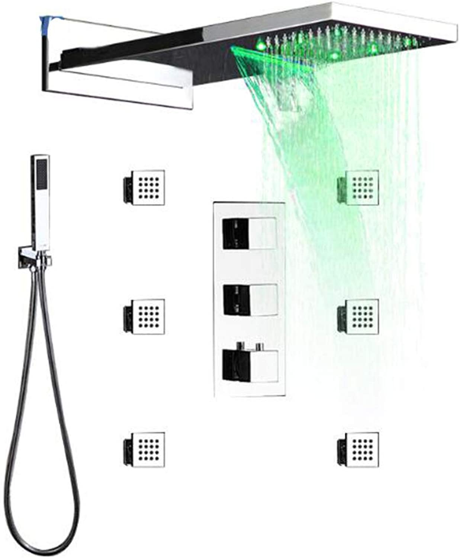 WG Thermostatische LED 22 Wasserfall-Dusche-Massage-Jets Valve W Hand Duschen SPA Body Massage Düsen-Jet-LED Bath Shower Faucet,A