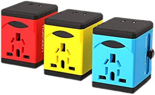 XIMINGJIA-O Power Plug Adapter - International Travel - 2 USB Ports in Over 150 Countries - 110-220 Volt Adapter - (1 Pack) Red International Converter, (Color : Blue)
