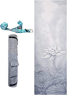 Lotus Yoga Mat with Bag and Strip High Density Thickened Non-Slip Exercise Yoga Mat Rubber Bottom Workout Mat Thick Exercise Mat for Home Gym Fitness Mat for Yoga, Pilates