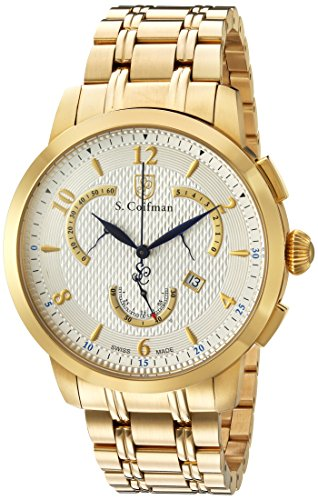 S.Coifman SC0237 Orologio da Polso, Display Cronografo, Uomo, Bracciale Acciaio Inox, Oro